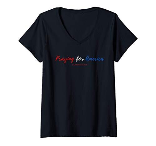 Womens Praying for America 2 Chronicles 7 16 Election Prayer 2020 V-Neck T-Shirt