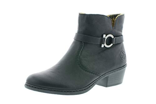 Rieker Damen Stiefeletten, Frauen Ankle Boots, reißverschluss weiblich Lady Ladies feminin elegant Women's Women Woman,schwarz,40 EU / 6.5 UK