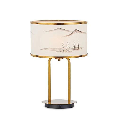 Lámpara De Noche Sala de Estar Dormitorio Chino Antiguo Estilo Paisaje Pintura Papel Cubierta Metal Creativo led lámpara de Mesa Lámpara De Mesa Retro (Color : Natural, Size : 35cmX51cm)