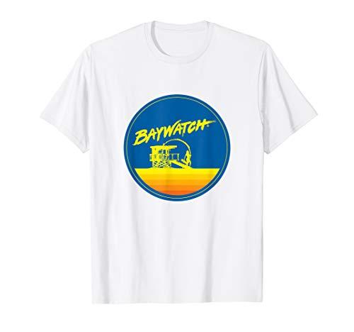 Baywatch Blue and Yellow Sunset Circular Logo T-shirt, Adults, Kids
