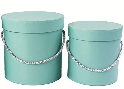 VIPOLIMEX 2er Set runde Blumenboxen mit Kordel, Aufbewahrungsbox mit Deckel, unifarbene Hutschachtel, Geschenkboxen, personalisierbar (Menthol)