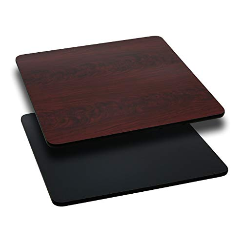 Flash Furniture 3 Pk. 24'' Square Table Top with Black or Mahogany Reversible Laminate Top