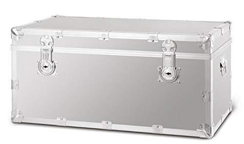 Casa Padrino Koffer Silber - Verschiedene Größen - Aluminium Koffer Truhe mit verstärkten Metallecken - Wasserdichter Reisekoffer Qualität, Grösse:84 x 40 x H. 44 cm