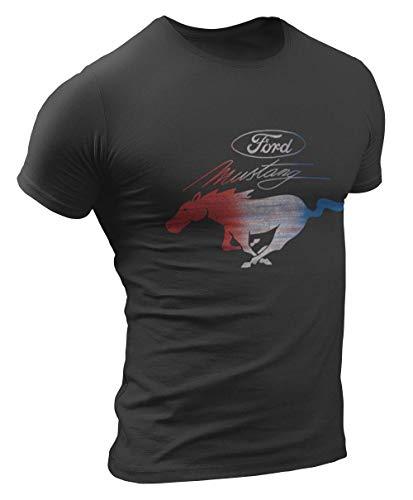 Official Licensed Ford Mustang RWB Vintage 50 Jahre Herren T-Shirt (XL, Schwarz)