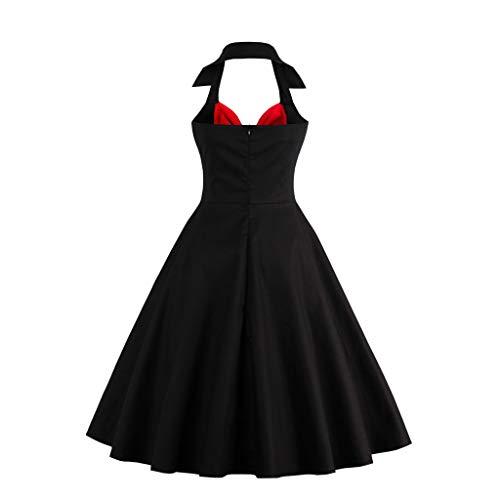 COZOCO Casual Verano Mujer Vestido Fiesta Largo Sin Mangas de Vestidos Playa Mujer Vestidos Estampado Vestido Floral Maxi Vestidos(Negro,EU-38/CN-L)