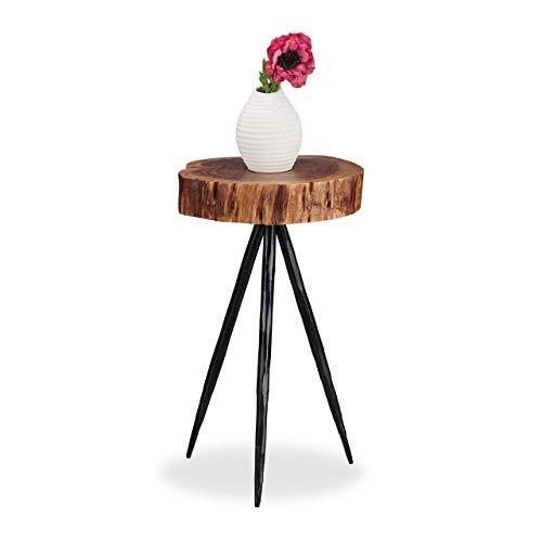Relaxdays Bijzettafel, massief houten boomschijf, metalen poten, rustiek design tafelblad, mangohout, 50 cm hoog, naturel