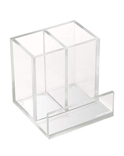 "russell+hazel Acrylic Pencil Bloc Two Compartment Pen Cup with Business Card Holder, Clear, 4"" x 4"" x 4"""