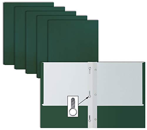 Dark Green Paper 2 Pocket Folders with Prongs, 50 Pack, by Better Office Products, Matte Texture, Letter Size Paper Folders, 50 Pack, with 3 Metal Prong Fastener Clips, Dark Green