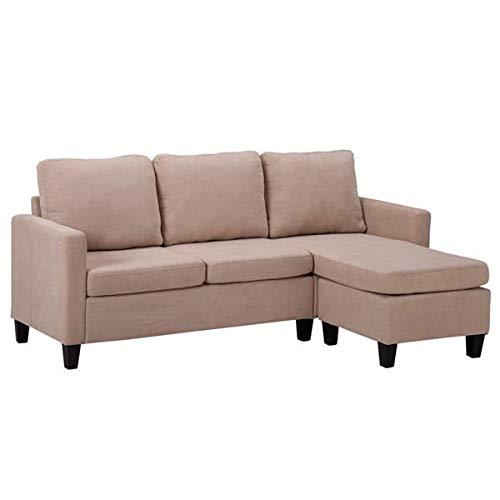Divano angolare grande tessuto convertibile divano componibile 76 pollici doppio chaise longue combinazione divano letto a forma di L beige casa mobili soggiorno