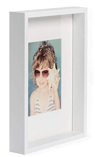 BD ART A4 21x30 cm Dokument, Zertifikat, Box Bilderrahmen mit Passepartout 13 x 18 cm, Weiß