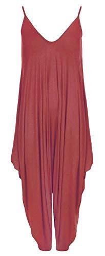 Miss Moody Fashion Damen Cami Baggy Strappy Party Jumpsuit Damen V-Ausschnitt Drape Hareem Playsuits Gr. S-M, wein