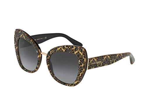 Dolce & Gabbana 0DG4319 Gafas de sol, Damasco Glitter Black On Black, 51 para Mujer