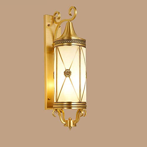 All Copper Outdoor Wall Glass Lampshade European American Outdoor Courtyard Balcony Aisle Corridor Wall Washer Door Exterior Wall Lamps Villa 18 66cm High Taste Pendant Lights Indoor Light HUERDAIIT