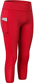 BEESCLOVER Women's Side Pocket Yoga Pants Fitness Running 3/4 Sweating Pants for Fitness for Woman Phone Leggings Plus Red XL