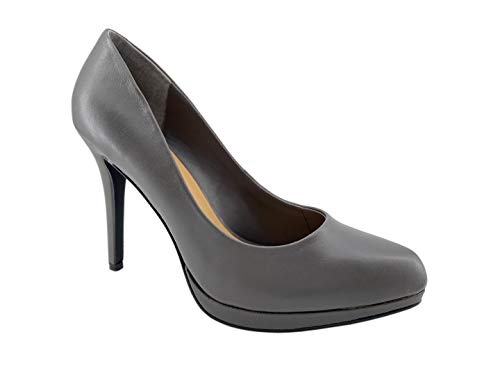 Carcuume Women's Classic High Heel Platform Pump, Round Toe Slip-On Dress Sandals, GFE-Grey-10