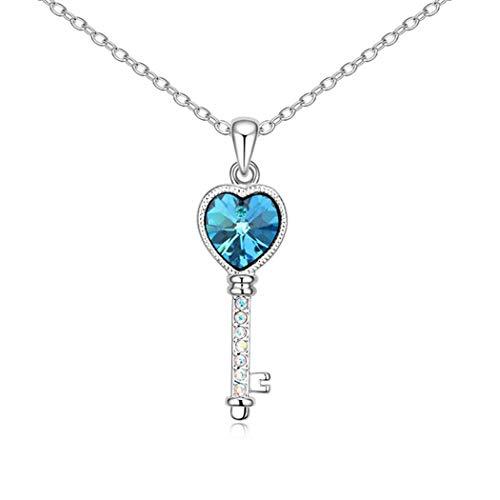 WUFANGFF Collana di Cristallo Ladies Gioielli Modellazione Chiave,Blu del Mare
