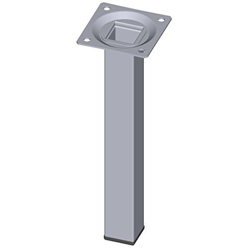 Element System 11101-00018 - 4 gambe in acciaio, base rettangolare, per tavoli e mobili con piastra di ancoraggio, Cromo, Altezza: 20 cm