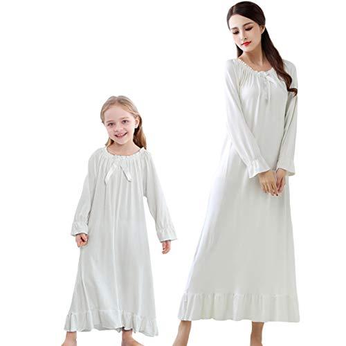 Gaga city Damen Mädchen Weißes Vintage Nachthemd Full Length Nachtwäsche - Mama & Tochter Passenden Pyjamas Pjs Kleid