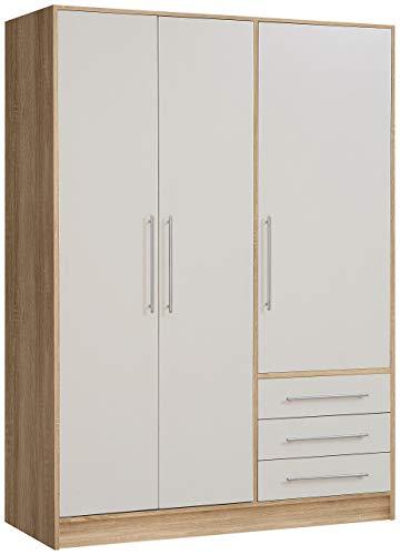 FORTE Jupiter Kleiderschrank 3-türig, 3 Schubkästen, Holz, sonoma eiche + weiß, 144.6 x 60 x 200 cm