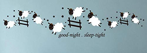 Terilizi Comte Jumping Sheep Good Night Sleep Tight Vinyle Wall Sticker Decal Enfants Chambre Bébé Pépinière Autocollants-30X145Cm
