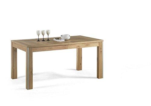Dreams4Home Esstisch massiv \'Adeline\' Eiche Bianco Tisch Esszimmertisch Esstisch Massivholz Breite 160 (260) cm, mit Auszug