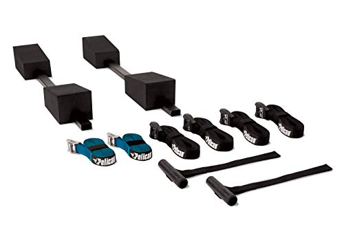 Pelican Adjustable Deluxe Foam Block Transport Roof Kayak Carrier Kit - Comes with Hood Trunk tie Down Loops and 6 tie Down Straps - PS1957, Black; Turquoise