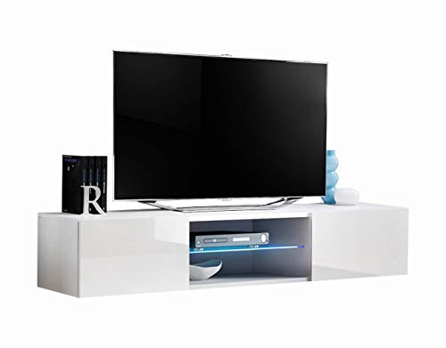 MEBLE FURNITURE & RUGS Fly Modular Wall Mounted Floating 63' TV Stand (Type-33) (White)