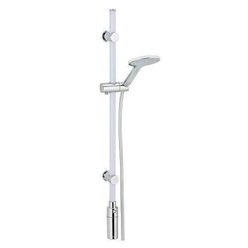 WENKO LED Duschstangen-Set 94 cm Warmweiß - Set mit beleuchteter Brausestange, warm-weißes LED-Licht, mit Bewegungsmelder, Duschkopf & Duschschlauch, Polykarbonat, 94 cm, Weiß