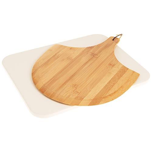 bremermann Pizzastein-Set 2tlg // Pizzastein inkl. Pizzaheber // Cordierit, rechteckig 30 x 38 cm // Pizzaschaufel Bambus