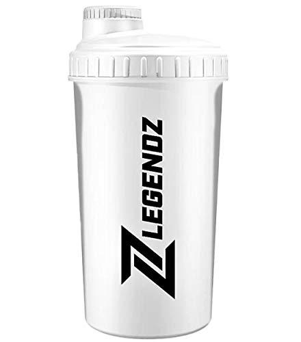 LegendZ Protein Shaker drinkfles met zeef voor eiwitshake, fles beker voor eiwit shakes, voor bodybuilding Fitness Sport I in wit - 700 ml