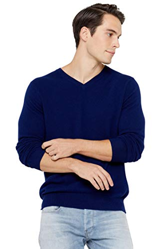 State Cashmere Men's Essential V-Neck Sweater 100% Pure Cashmere Classic Long Sleeve Pullover (X-Large, Navy)