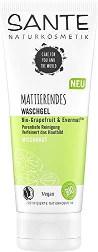 Sante Naturkosmetik Mattierendes Waschgel Bio-Grapefruit & Evermat, Verfeinert die Poren, Mattierende Gesichts-Reinigung für unreine Haut, Natürlich gründliche Reinigung, Vegan, 100ml