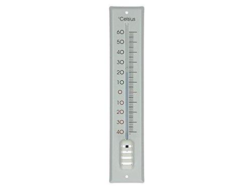 Grote thermometer buiten- binnen- thermometer metaal emaille decor klassiek wit