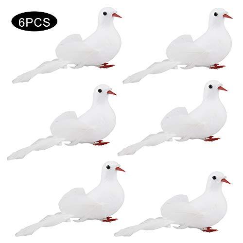 æ— Asdomo artificial de espuma de simulación de pájaro, 6 unidades, plumas blancas, adornos para manualidades, plumas de amor, pájaros para decoración de bodas, fiestas, adornos de árbol de Navidad