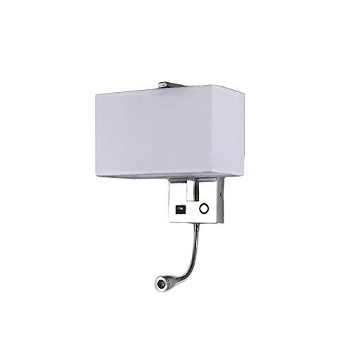 CUICAN LED Moderna Paño Lámpara de pared, E27 Metálica Diseño Con USB Mesita de noche Lámpara de pared Para Dormitorio Pasillo Balcones Apliques de pared-Blanco 40 * 28cm