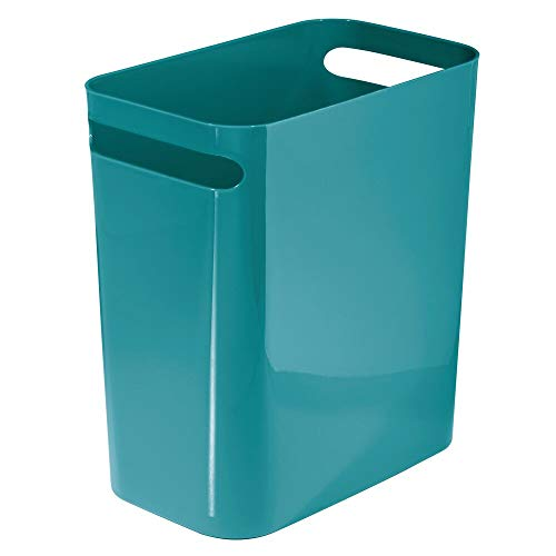 "mDesign Slim Plastic Rectangular Large Trash Can Wastebasket, Garbage Container Bin, Handles for Bathroom, Kitchen, Home Office, Dorm, Kids Room - 12"" High, Shatter-Resistant - Teal Blue"