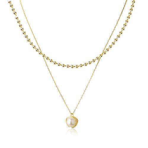 ZNZNN Collar de Perlas de Doble Capa para Mujeres Real Chapado en Oro Grande Pearl Colgante Collar Elegante de Moda Chocker, Gran Regalo-Oro Regalo de Collar de Moda