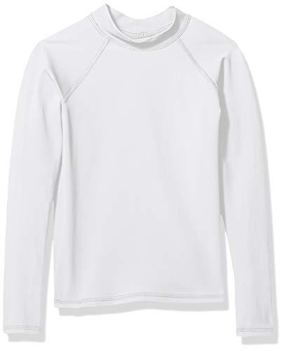 Amazon Essentials UPF 50+ Big Boy's Long-Sleeve Rashguard, White, Medium