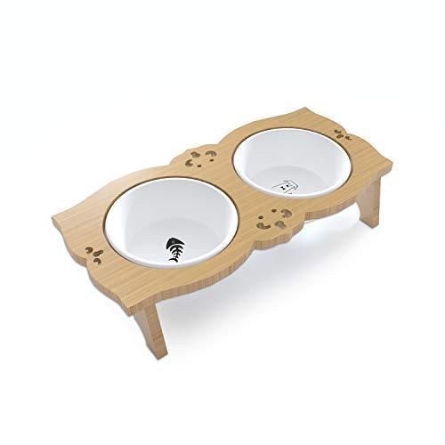 YINGJEE Katzennapf Hundenapf,mit erhöhtem Ständer- rutschfeste Katzenschale Keramikschüsseln Futterstation Näpfer für kleine Hunde Katzen