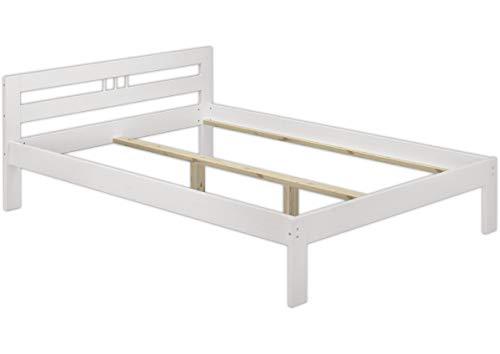Erst-Holz Solido Bianco Telaio Letto Classico in Pino massello 120x200 Senza doghe 60.64-12WoR