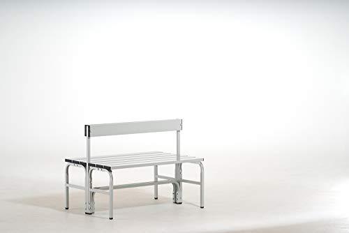 System-Umkleidebank Alu/Stahl, Typ G, lichtgrau, LxBxH cm: 101,5x72,5x77, Doppelseitig, mit Rückenlehne