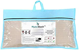 "NutriBuck Organic Buckwheat Pillow   Standard Size   15"" x 25"" inch   Pillow for Neck Pain   Shoulder Pain   Back Pain   O..."