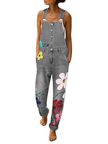 Tomwell Jeanslatzhose Damen Latzhose Jeans Hose Vintage Loose fit Jumpsuit Overall Blumen Denim Playsuit Romper 02 Grau L