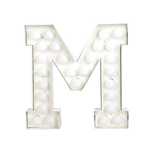 Seletti Vegaz Lettre en métal avec ampoules LED H cm 60 ‐ M, E27, blanc