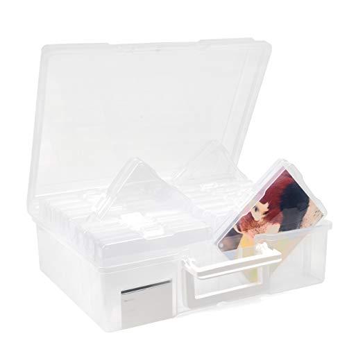 Office Mania Boîte de Rangement pour Photos avec 16 Caisses de Rangement de 11.5x17cm (Capacité de 1600 Photos) et Étiquettes| Organisateur de Photos en Plastique| Solide, Durable et Fiable.