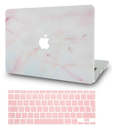 KECC MacBook Air 13 Retina Zoll Hülle (2020/2019/2018, Touch ID) Schutzhülle Case w/ EU Tastaturschutz MacBook Air 13.3 {A1932} (Marmor Rosa)