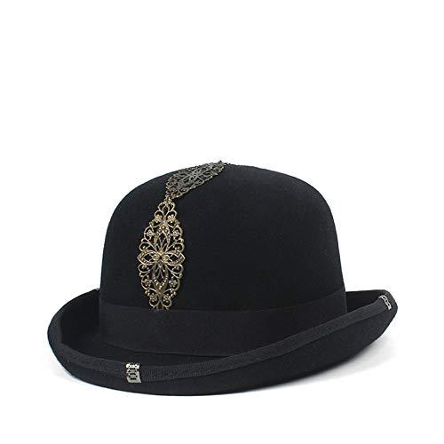 Salle Vivant « Nice Le Charme Exquis Vintage Steampunk Gear Lunettes Noir Chapeau Chapeau Unisexe Couple Brun Fedora Partie Bowler (Color : Black, Size : 57cm)