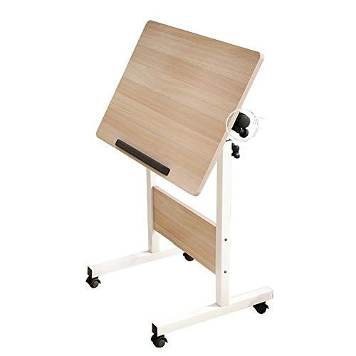 Mesa sobre la cama con ruedas bloqueables, mesa auxiliar de sofá ajustable en altura, bandeja lateral portátil para refrigerios, súper resistente y estable para muebles de oficina en casa (tamaño: 80