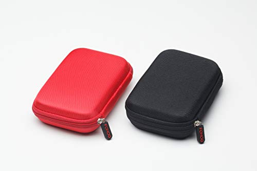 FOHOG Small Hard Shell Carrying Case for My Passport Essential External Hard Drive 2 Pack Black amp Red
