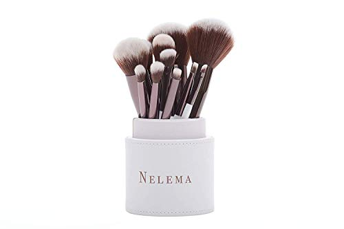 Nelema 11 tlg. Schminkpinsel-Set (Weiß) inkl. Pinselset-Behälter - Kosmetikpinsel für Lidschatten...